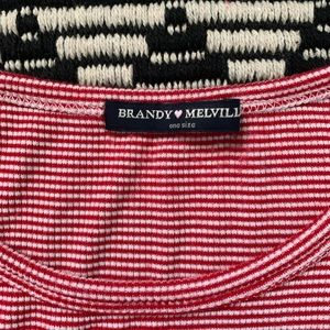 Brandy Melville Red White Striped Ribbed Baby Tee